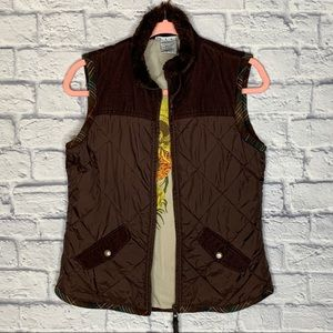 CAbi Brown Quilted Sunflower Puffer Vest